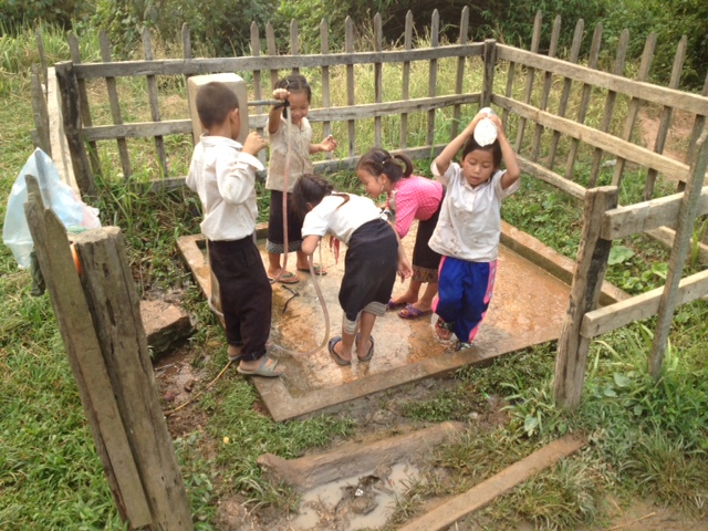 Children at a school water point, Sayabouri Province